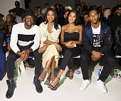 Professional basketball player Dwyane Wade and his fiancee actress Gabrielle Union Elaina Watley and professional football player Victor Cruz attend...