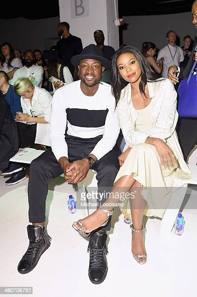 Professional basketball player Dwyane Wade and his fiancee actress Gabrielle Union attend the Ovadia Sons front row during New York Fashion Week...
