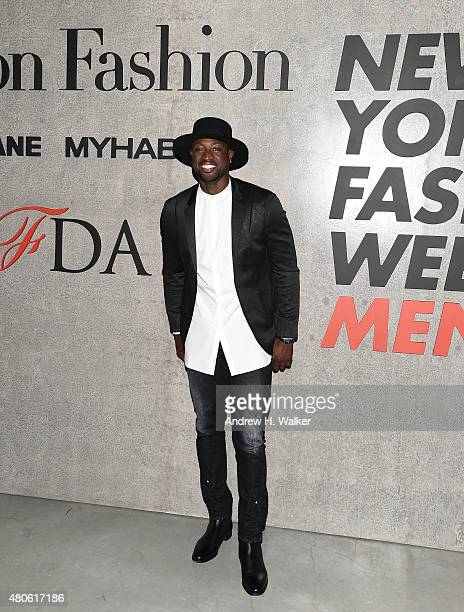 Professional Basketball Player Dwyane Wade attends the opening event for New York Fashion Week Men's S/S 2016 at Amazon Imaging Studio on July 13...