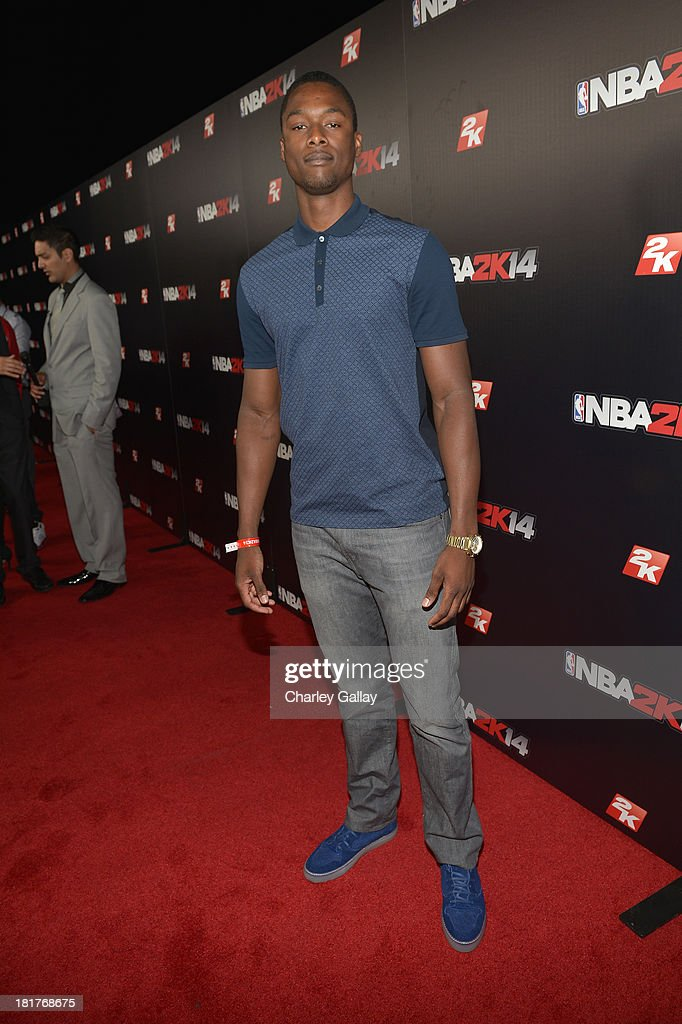 Professional basketball player Harrison Barnes attends the NBA 2K14 premiere party at Greystone Manor on September 24, 2013 in West Hollywood, California.