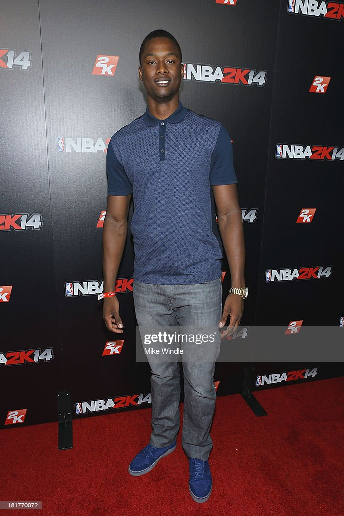 Professional basketball player Harrison Barnes attends the NBA2K14 premiere party at Greystone Manor Supperclub on September 24, 2013 in West Hollywood, California.