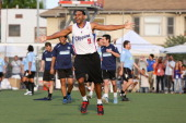 Professional basketball player Jared Dudley plays soccer at the Salvation Army Red Shield Youth Community Center on July 14 2013 in Los Angeles