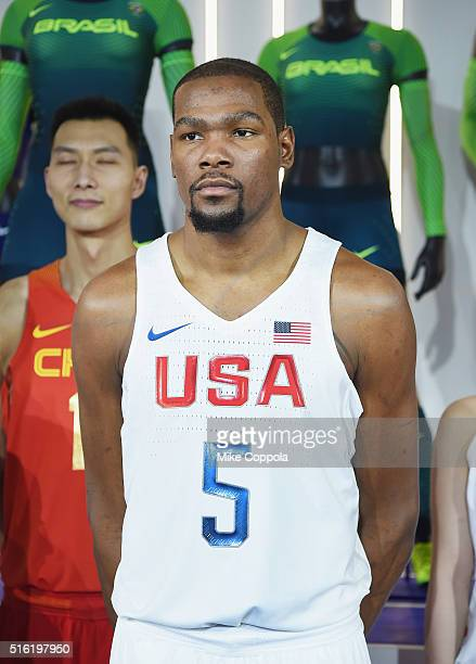 Professional basketball player Kevin Durant shows off the 2016 Olympics Uniforms For USA And International Federations Debut at Skylight at Moynihan...