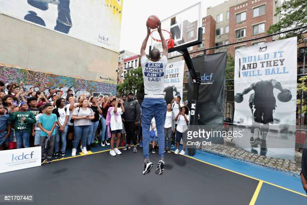 Professional basketball player Kevin Durant uses the new equipment during the KD Build It and They Will Ball court ceremony on July 24 2017 in New...