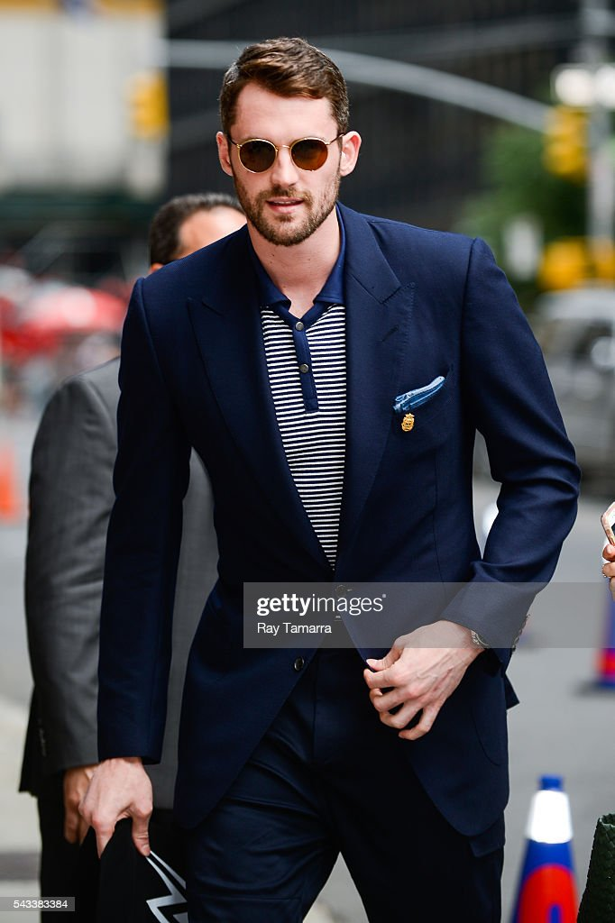 Professional basketball player <a gi-track='captionPersonalityLinkClicked' href=/galleries/search?phrase=Kevin+Love&family=editorial&specificpeople=4212726 ng-click='$event.stopPropagation()'>Kevin Love</a> enters 'The Late Show With Stephen Colbert' taping at the Ed Sullivan Theater on June 27, 2016 in New York City.