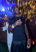 Professional basketball player Larry Sanders attends Hugh Hefner's annual Midsummer Night's Dream party held at the Playboy Mansion on August 3 2013...