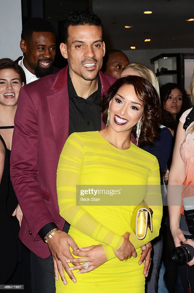 Professional basketball player <a gi-track='captionPersonalityLinkClicked' href=/galleries/search?phrase=Matt+Barnes+-+Basketball+Player&family=editorial&specificpeople=202880 ng-click='$event.stopPropagation()'>Matt Barnes</a> and his wife Gloria attend <a gi-track='captionPersonalityLinkClicked' href=/galleries/search?phrase=Matt+Barnes+-+Basketball+Player&family=editorial&specificpeople=202880 ng-click='$event.stopPropagation()'>Matt Barnes</a> Foundation Athletes Vs. Cancer event at Versace Boutique on January 31, 2014 in Beverly Hills, California.