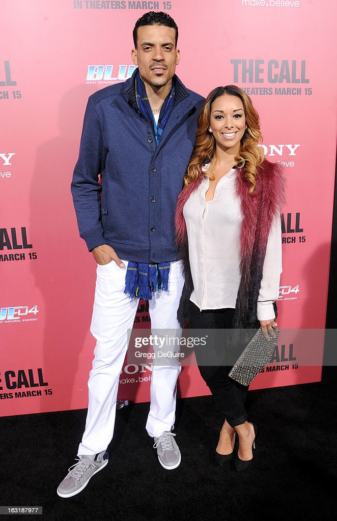 Professional basketball player <a gi-track='captionPersonalityLinkClicked' href=/galleries/search?phrase=Matt+Barnes+-+Basketball+Player&family=editorial&specificpeople=202880 ng-click='$event.stopPropagation()'>Matt Barnes</a> and wife <a gi-track='captionPersonalityLinkClicked' href=/galleries/search?phrase=Gloria+Govan&family=editorial&specificpeople=7070564 ng-click='$event.stopPropagation()'>Gloria Govan</a> arrive at the Los Angeles premiere of 'The Call' at ArcLight Hollywood on March 5, 2013 in Hollywood, California.