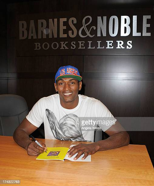 Professional basketball player Metta World Peace attends a signing for his book 'Metta's Bedtime Stories' at Barnes Noble bookstore at The Grove on...