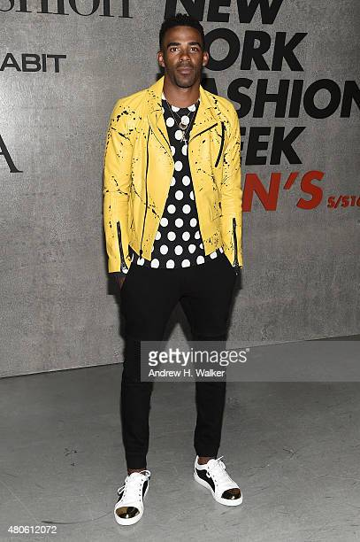 Professional Basketball Player Mike Conley attends the opening event for New York Fashion Week Men's S/S 2016 at Amazon Imaging Studio on July 13...