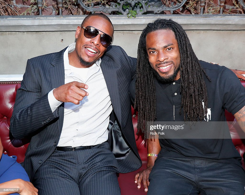 Professional basketball player Paul Pierce and professional football player Richard Sherman attend The Players' Tribune Summer Party at No Vacancy on...