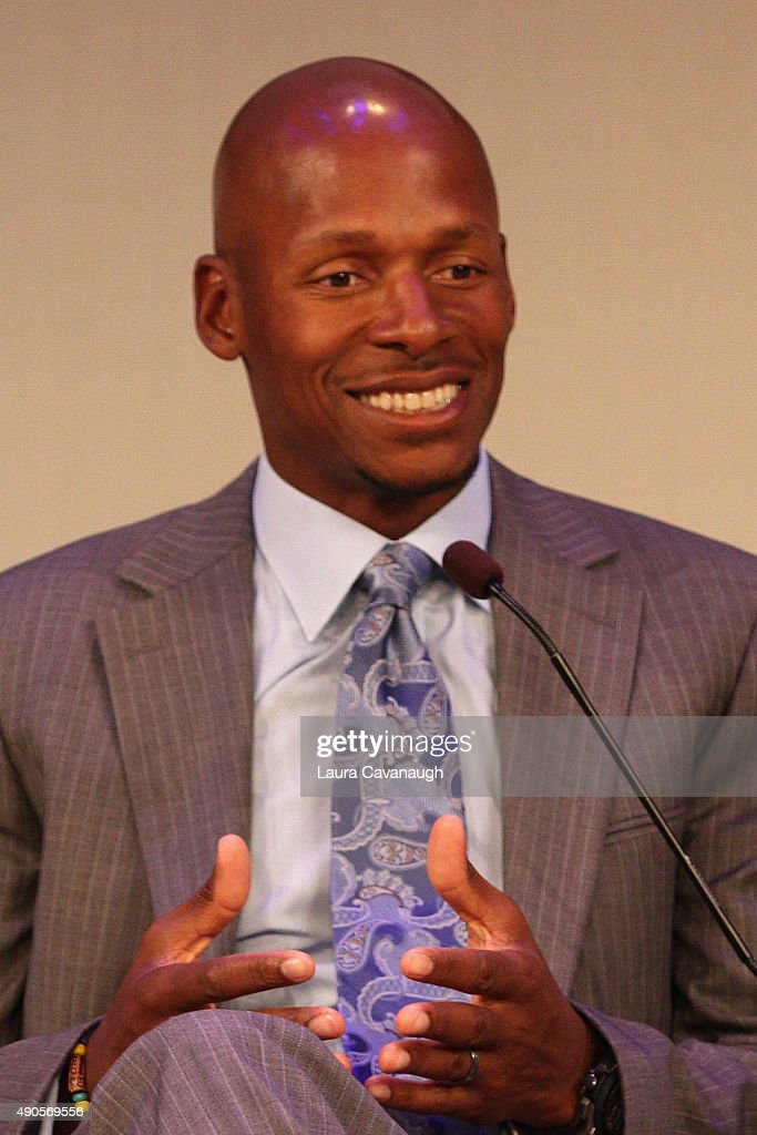 Professional basketball player <a gi-track='captionPersonalityLinkClicked' href=/galleries/search?phrase=Ray+Allen&family=editorial&specificpeople=201511 ng-click='$event.stopPropagation()'>Ray Allen</a> speaks onstage at the NBA on ESPN panel presented by ESPN during Advertising Week 2015 AWXII at the Times Center Stage on September 29, 2015 in New York City.