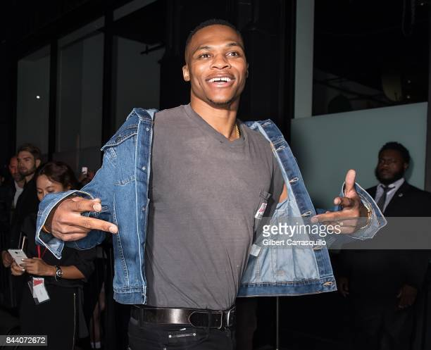 Professional basketball player Russell Westbrook is seen arriving at Calvin Klein Collection fashion show during New York Fashion Week on September 7...