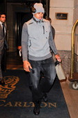 Professional basketball player Shannon Brown leaves a Midtown Manhattan hotel on February 11 2011 in New York City