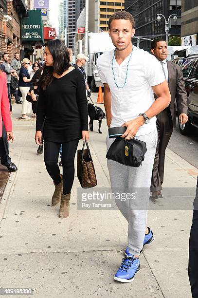 Professional basketball player Steph Curry and Ayesha Curry enter the 'The Late Show With Stephen Colbert' taping at the Ed Sullivan Theater on...