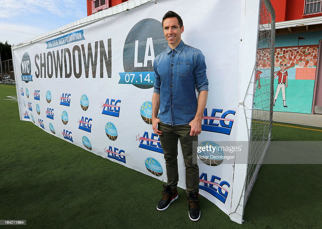Professional basketball player Steve Nash of the Los Angeles Lakers attends an announcement for his charity soccer events at The Salvation Army Red Shield Youth & Community Center on March 20, 2013 in Los Angeles, California.