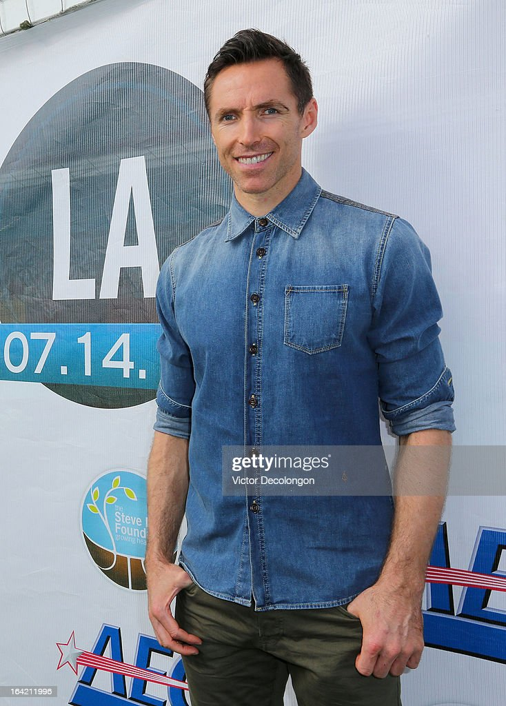 Professional basketball player Steve Nash of the Los Angeles Lakers attends the announcement for his charity soccer events at The Salvation Army Red Shield Youth & Community Center on March 20, 2013 in Los Angeles, California.