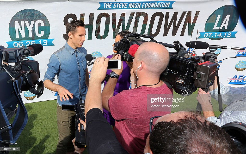 Professional basketball player Steve Nash of the Los Angeles Lakers speaks to the media after announcing his charity soccer events at The Salvation Army Red Shield Youth & Community Center on March 20, 2013 in Los Angeles, California.