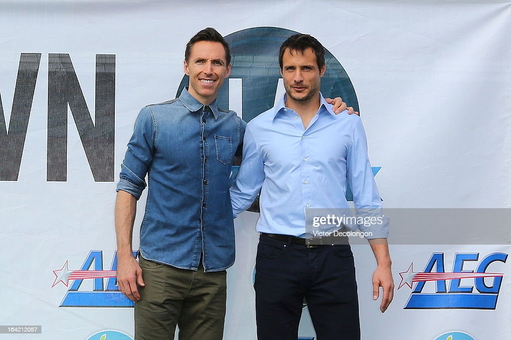 Professional basketball player Steve Nash of the Los Angeles Lakers and professional soccer player Carlo Cudicini of the Los Angeles Galaxy attend the announcement for Nash's charity soccer events at The Salvation Army Red Shield Youth & Community Center on March 20, 2013 in Los Angeles, California.