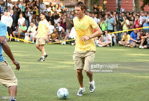 Professional Basketball Player Steve Nash plays in the Showdown in Chinatown celebrity soccer match at the Nike Field in Sara D Roosevelt Park on...