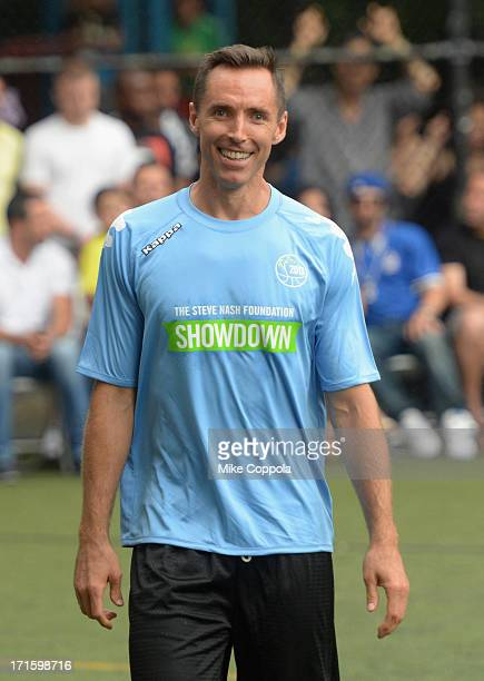 Professional basketball player Steve Nash plays soccer at Sarah D Roosevelt Park on June 26 2013 in New York City