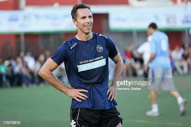 Professional basketball player Steve Nash plays soccer at the Salvation Army Red Shield Youth Community Center on July 14 2013 in Los Angeles...