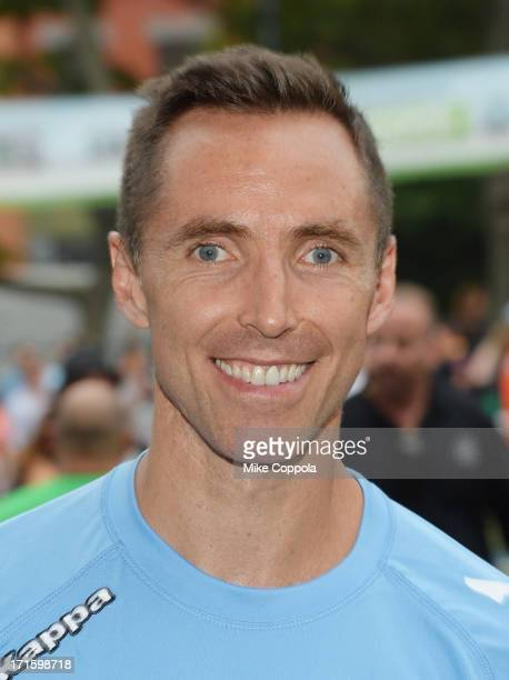 Professional basketball player Steve Nash poses for a picture at Sarah D Roosevelt Park on June 26 2013 in New York City