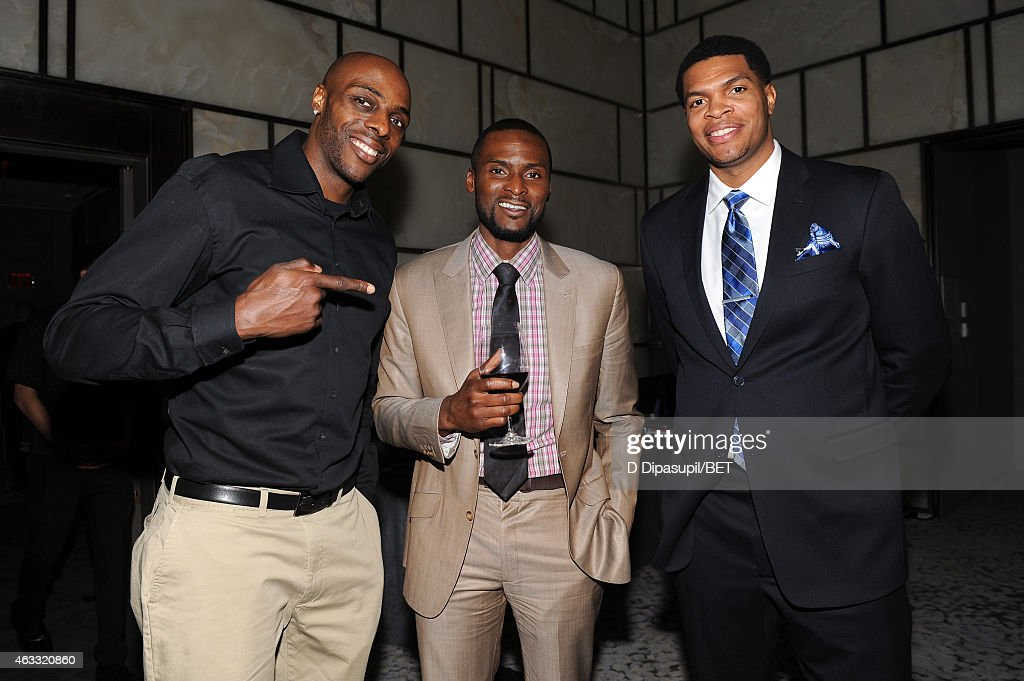 Professional basketball players <a gi-track='captionPersonalityLinkClicked' href=/galleries/search?phrase=Anthony+Tolliver&family=editorial&specificpeople=4195496 ng-click='$event.stopPropagation()'>Anthony Tolliver</a>, <a gi-track='captionPersonalityLinkClicked' href=/galleries/search?phrase=Keyon+Dooling&family=editorial&specificpeople=202647 ng-click='$event.stopPropagation()'>Keyon Dooling</a>, and <a gi-track='captionPersonalityLinkClicked' href=/galleries/search?phrase=Tamar+Slay&family=editorial&specificpeople=208211 ng-click='$event.stopPropagation()'>Tamar Slay</a> attend the H.I.S. Official Launch Party at the Park Hyatt New York on February 12, 2015 in New York City.