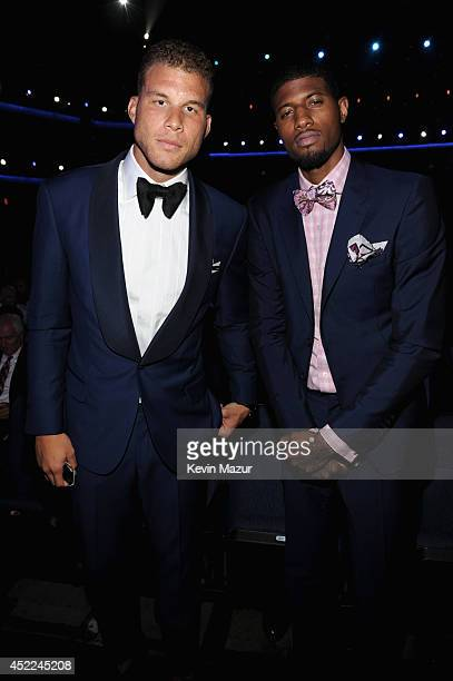 Professional basketball players Blake Griffin and Paul George attend The 2014 ESPY Awards at Nokia Theatre LA Live on July 16 2014 in Los Angeles...