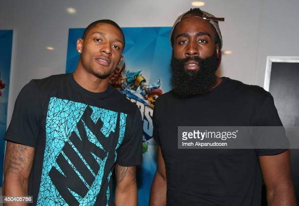 Professional basketball players Bradley Beal and James Harden visit Call of Duty Advanced Warfare and Destiny at the Activision booth during E3 on...