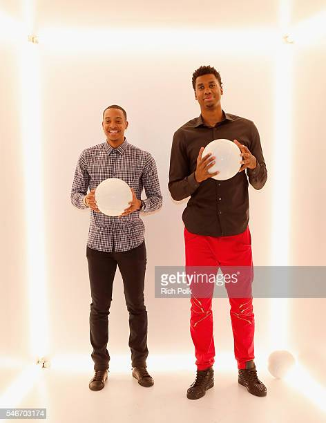 Professional basketball players C J McCollum and Hassan Whiteside attend The Players' Tribune Summer Party at No Vacancy on July 12 2016 in Los...