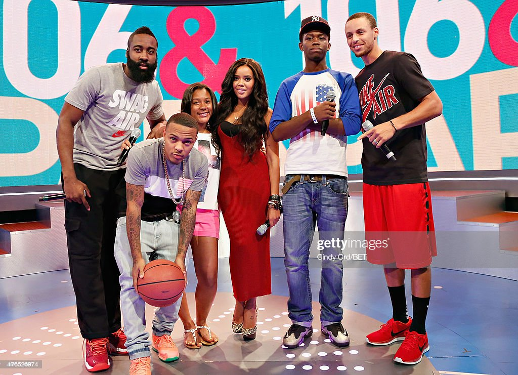 Professional basketball players <a gi-track='captionPersonalityLinkClicked' href=/galleries/search?phrase=James+Harden&family=editorial&specificpeople=4215938 ng-click='$event.stopPropagation()'>James Harden</a> (L) and Stephen Curry (R) pose with hosts <a gi-track='captionPersonalityLinkClicked' href=/galleries/search?phrase=Bow+Wow+-+Rapper&family=editorial&specificpeople=211211 ng-click='$event.stopPropagation()'>Bow Wow</a> (2nd L) and <a gi-track='captionPersonalityLinkClicked' href=/galleries/search?phrase=Angela+Simmons&family=editorial&specificpeople=653461 ng-click='$event.stopPropagation()'>Angela Simmons</a> (C) at BET's '106 and Park' at BET Studios BET Studios on August 14, 2013 in New York City.