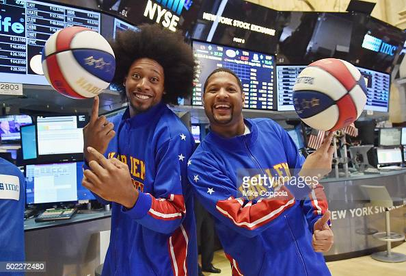 Professional basketball players Moose Weekes and Handles Franklin of the Harlem Globetrotters Celebrate 90th Year At The New York Stock Exchange...