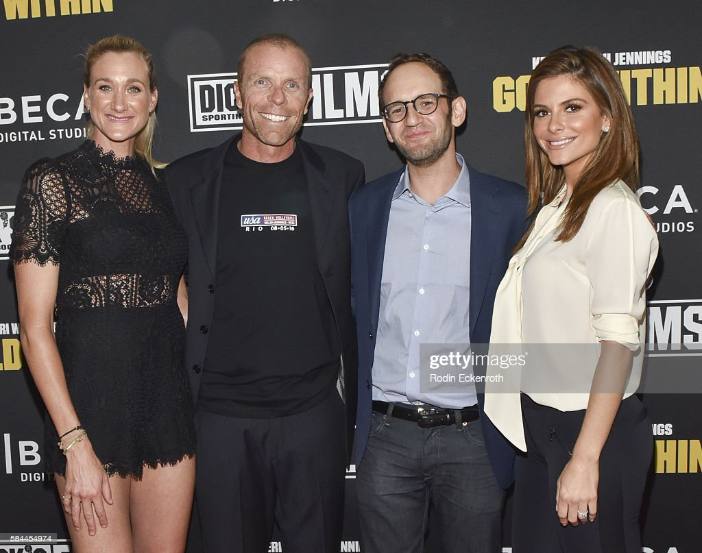 Professional beach volleyball player and Olympic gold medalist Kerri Walsh Jennings, Casey Jennings, director Greg Spitzer, and actress Maria Menounos attend the premiere of 'Kerri Walsh Jennings: Gold Within' at The Paley Center for Media on July 28, 2016 in Beverly Hills, California.