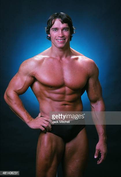 Professional bodybuilder Arnold Schwarzenegger posing at the top of his form in October 1976