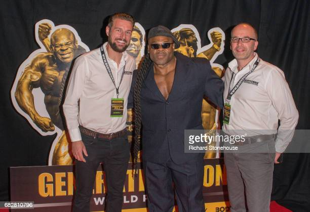 Professional bodybuilder Kai Greene poses with Executive Producers Ollie Upton and Nick Orton as he arrives to attend the premiere of 'Generation...