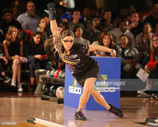 Professional bowler Clara Guerrero participates in the CP3 PBA Celebrity Invitational Charity Bowling Tournament presented by GoBowlingcom at Lucky...