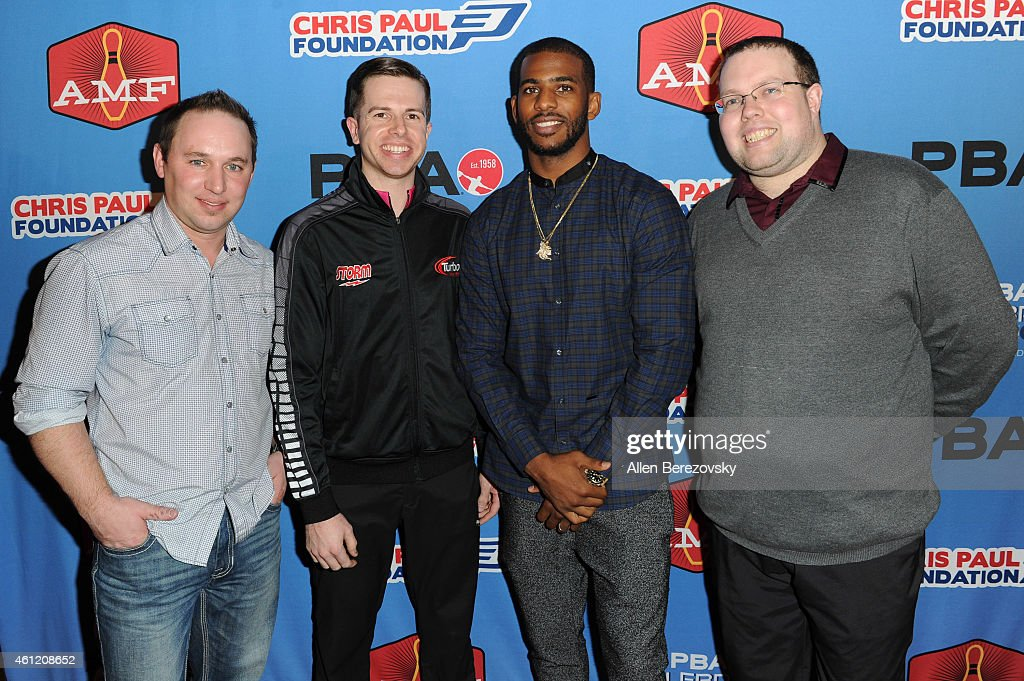 Professional bowlers Ronnie Russell, Mike Fagan, NBA star Chris Paul and bowler Stuart Williams attend the 6th Annual CP3 PBA Celebrity Invitational presented by AMF hosted by L.A. Clippers all-star guard Chris Paul at AMF Bowl-O-Drome on January 8, 2015 in Torrance, California.