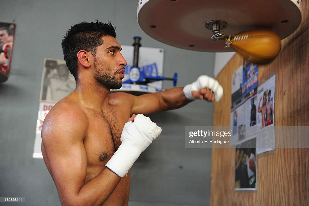 Professional boxer Amir Khan trains at a sparring session at Wild Card Boxing Club on November 14 2011 in Hollywood California