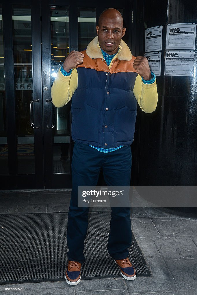 Professional boxer and IBF light heavyweight champion Bernard Hopkins leaves the 'Good Day New York' taping at the Fox 5 Studios on March 15, 2013 in New York City.