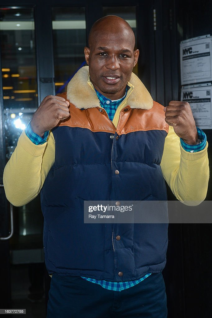 Professional boxer and IBF light heavyweight champion <a gi-track='captionPersonalityLinkClicked' href=/galleries/search?phrase=Bernard+Hopkins&family=editorial&specificpeople=171200 ng-click='$event.stopPropagation()'>Bernard Hopkins</a> leaves the 'Good Day New York' taping at the Fox 5 Studios on March 15, 2013 in New York City.