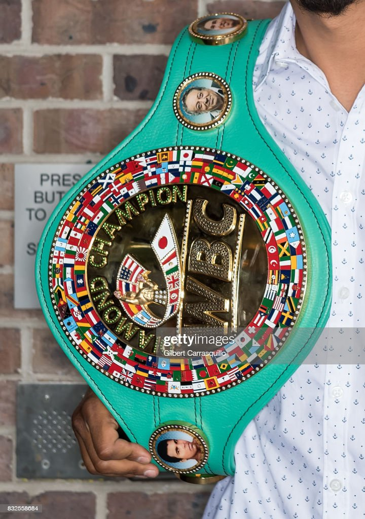 Professional boxer and WBC lightweight champion Mikey Garcia, championship belt detail, visits Fox 29's 'Good Day' at FOX 29 Studio on August 16, 2017 in Philadelphia, Pennsylvania.