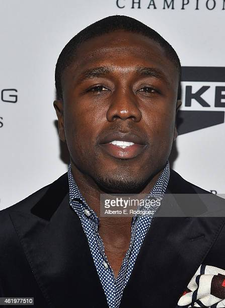 Professional boxer Andre Berto attends Spike TV's announcement of it's new boxing series 'Premier Boxing Champions' on January 22 2015 in Santa...