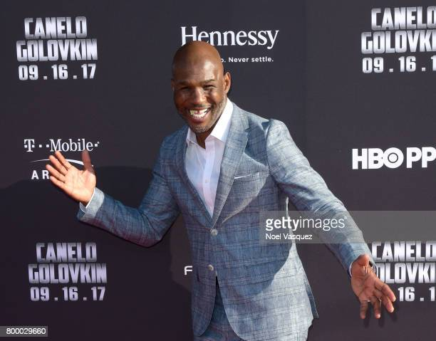 """Professional boxer Bernard Hopkins attends the Canelo Alvarez and Gennady """"GGG"""" Golovkin press tour presented by Hennessy at AVALON Hollywood on June..."""