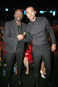 Professional boxer Floyd Mayweather and Humanitarian Award winner Jesse Williams attend the 2016 BET Awards at the Microsoft Theater on June 26 2016...