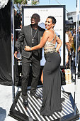 Professional boxer Floyd Mayweather and Melissia Brim attend the Cover Girl glam stage during the 2016 BET Awards at the Microsoft Theater on June 26...