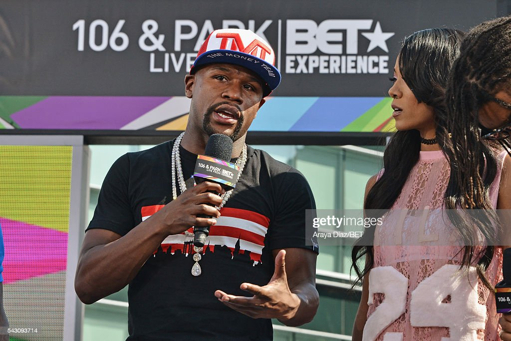 Professional boxer Floyd Mayweather (L) and recording artist Mila J speak onstage at 106 & Park Sponsored by Coca-Cola during the 2016 BET Experience on June 25, 2016 in Los Angeles, California.