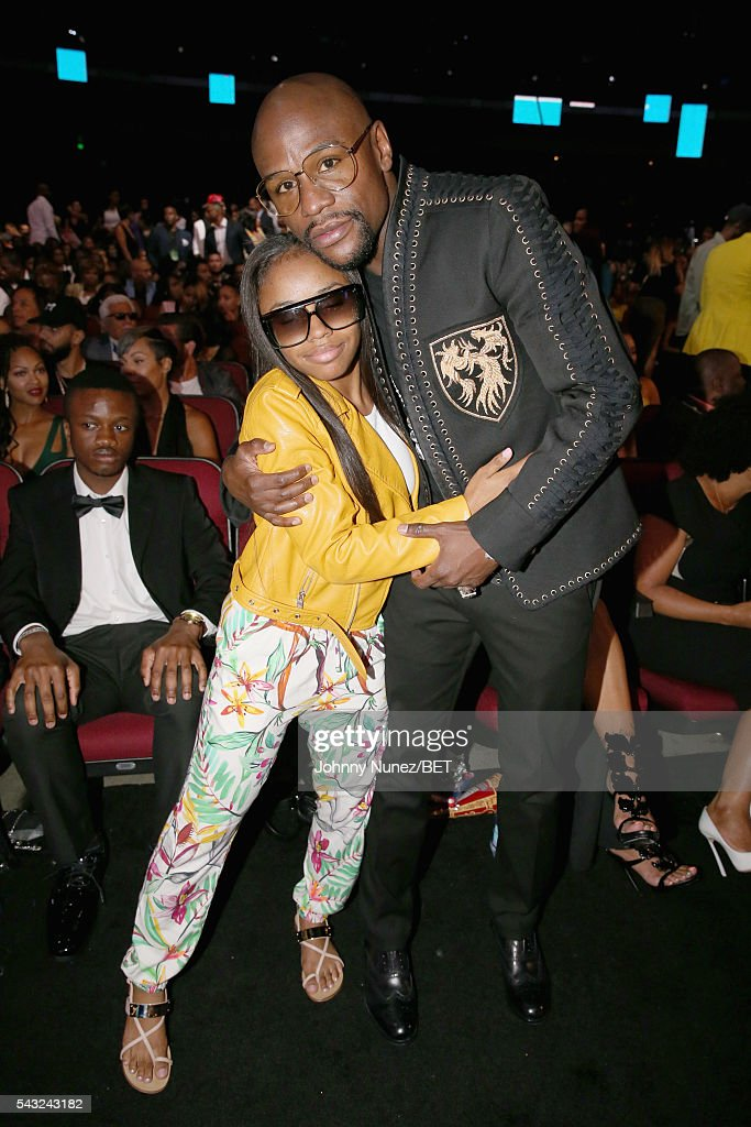 Professional boxer Floyd Mayweather (R) attends the 2016 BET Awards at the Microsoft Theater on June 26, 2016 in Los Angeles, California.