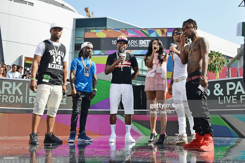 Professional boxer Floyd Mayweather, host Mila J and recording artists <a gi-track='captionPersonalityLinkClicked' href=/galleries/search?phrase=Swae+Lee&family=editorial&specificpeople=12935150 ng-click='$event.stopPropagation()'>Swae Lee</a> and <a gi-track='captionPersonalityLinkClicked' href=/galleries/search?phrase=Slim+Jimmy&family=editorial&specificpeople=12935151 ng-click='$event.stopPropagation()'>Slim Jimmy</a> of Rae Sremmurd speak onstage at 106 & Park Sponsored by Coca-Cola during the 2016 BET Experience on June 25, 2016 in Los Angeles, California.