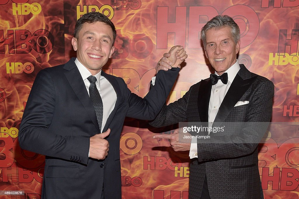 Professional boxer <a gi-track='captionPersonalityLinkClicked' href=/galleries/search?phrase=Gennady+Golovkin&family=editorial&specificpeople=10619206 ng-click='$event.stopPropagation()'>Gennady Golovkin</a> and TV personality <a gi-track='captionPersonalityLinkClicked' href=/galleries/search?phrase=Michael+Buffer&family=editorial&specificpeople=224006 ng-click='$event.stopPropagation()'>Michael Buffer</a> attend HBO's Official 2015 Emmy After Party at The Plaza at the Pacific Design Center on September 20, 2015 in Los Angeles, California.